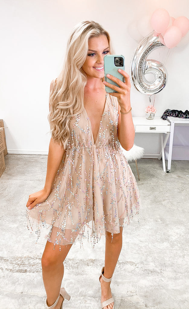 Out Tonight Sequin Dress - Nude