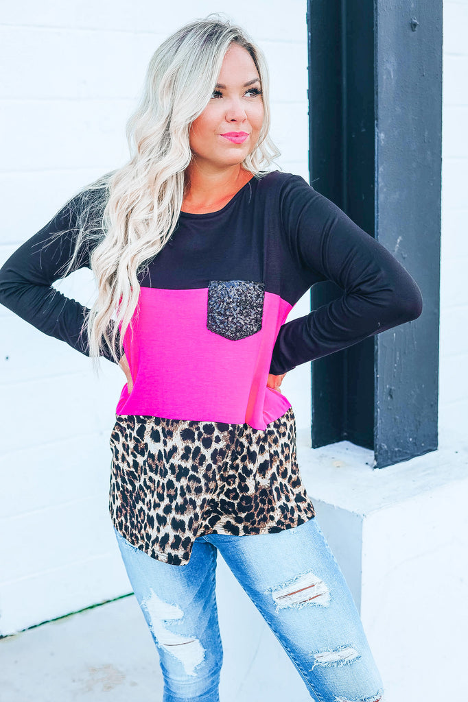 Festive Vibes Color Block Top - Pink
