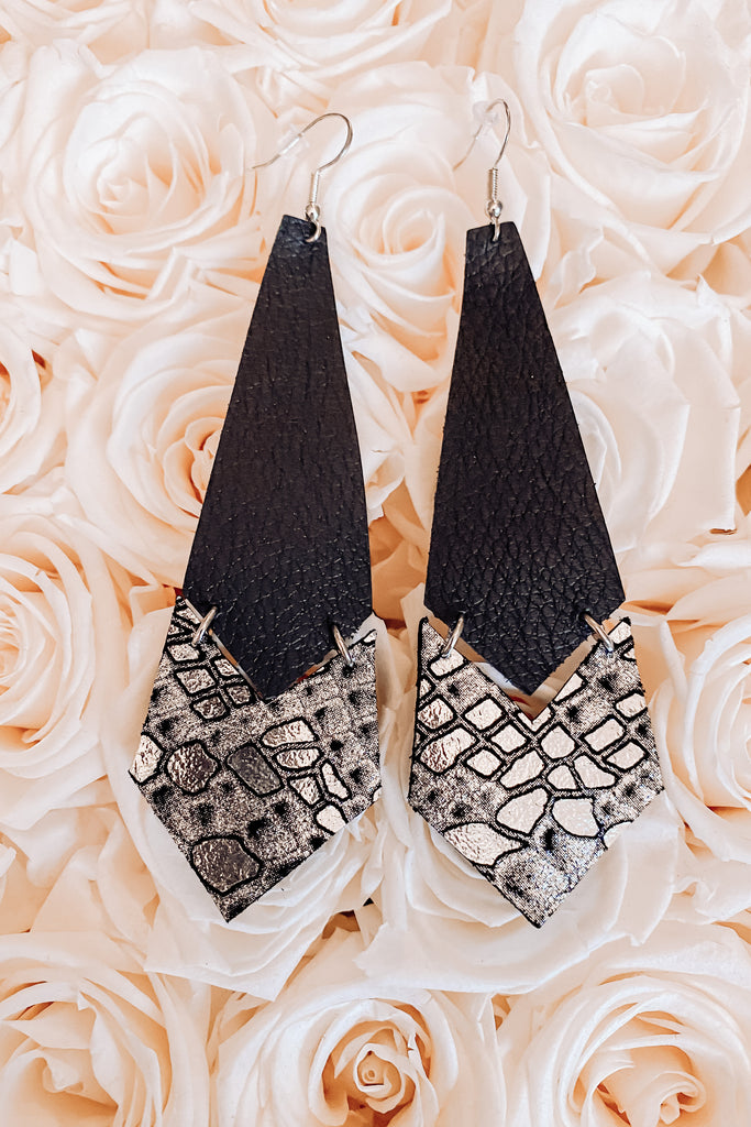 Shimmering Snakeskin Leather Earrings
