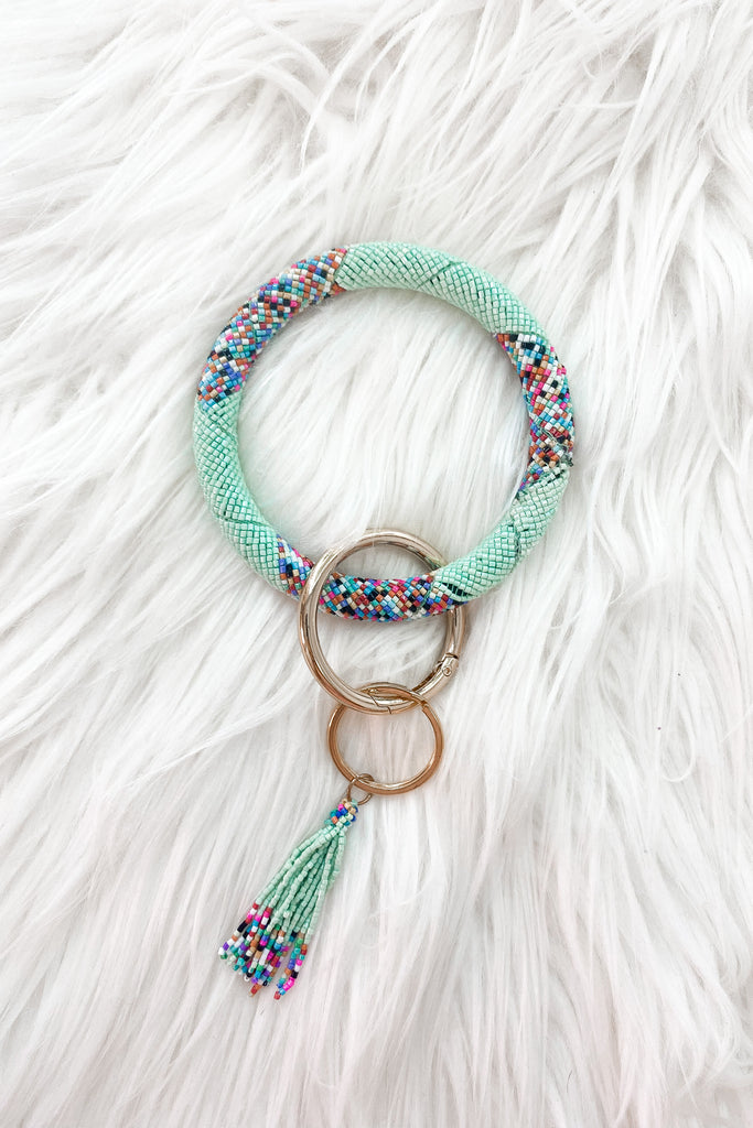 Blossom Beaded Key Chain Bracelet - Mint