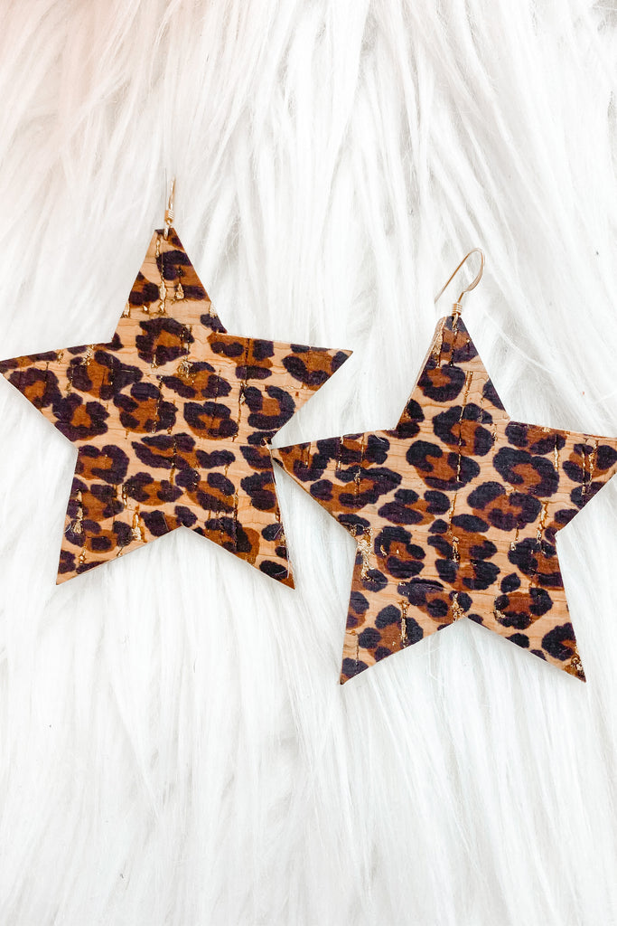 It's Own Light Leather Earrings - Leopard