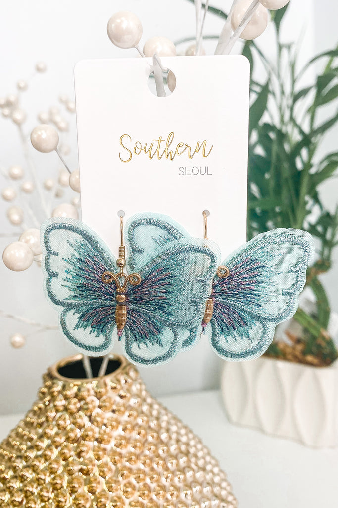 Flutter By Lace Earrings - Blue