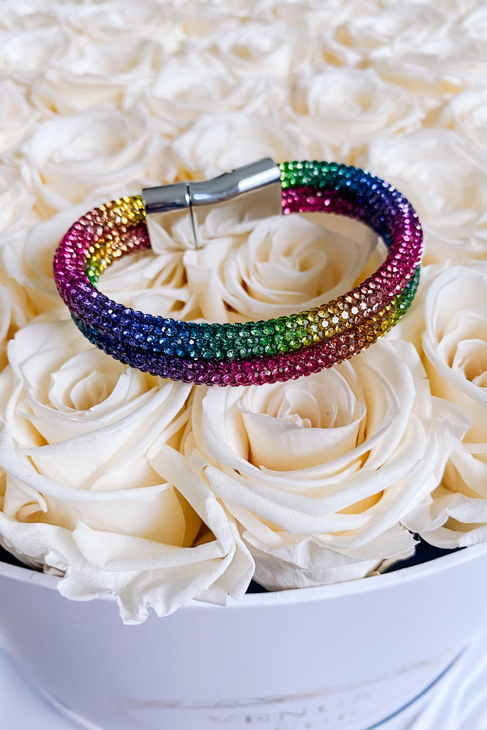 Too Glam To Care Double Banded Bracelet - Rainbow
