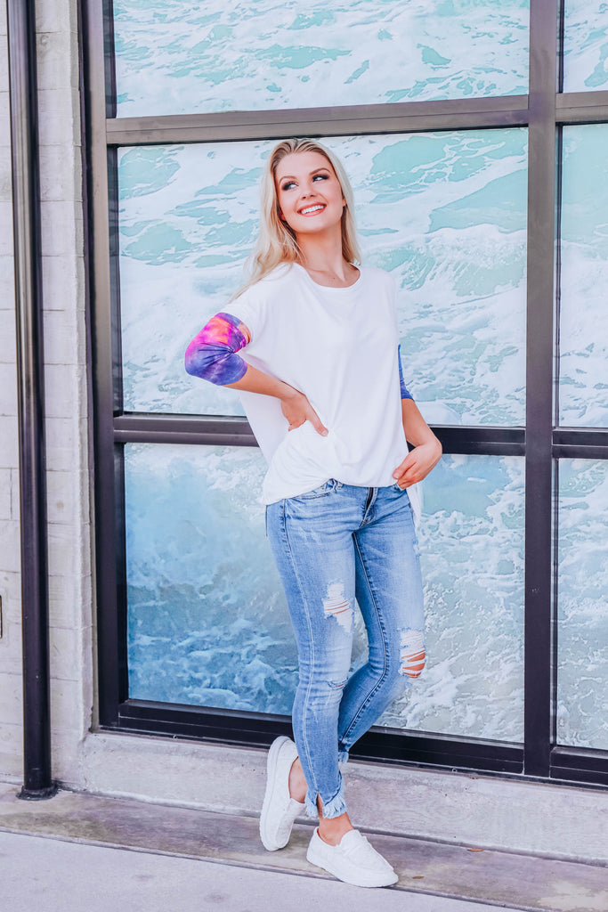 Touch Of Tie Dye Top - Ivory