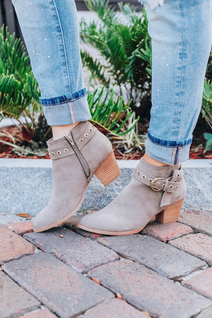 Belt It Out Ankle Booties - Taupe