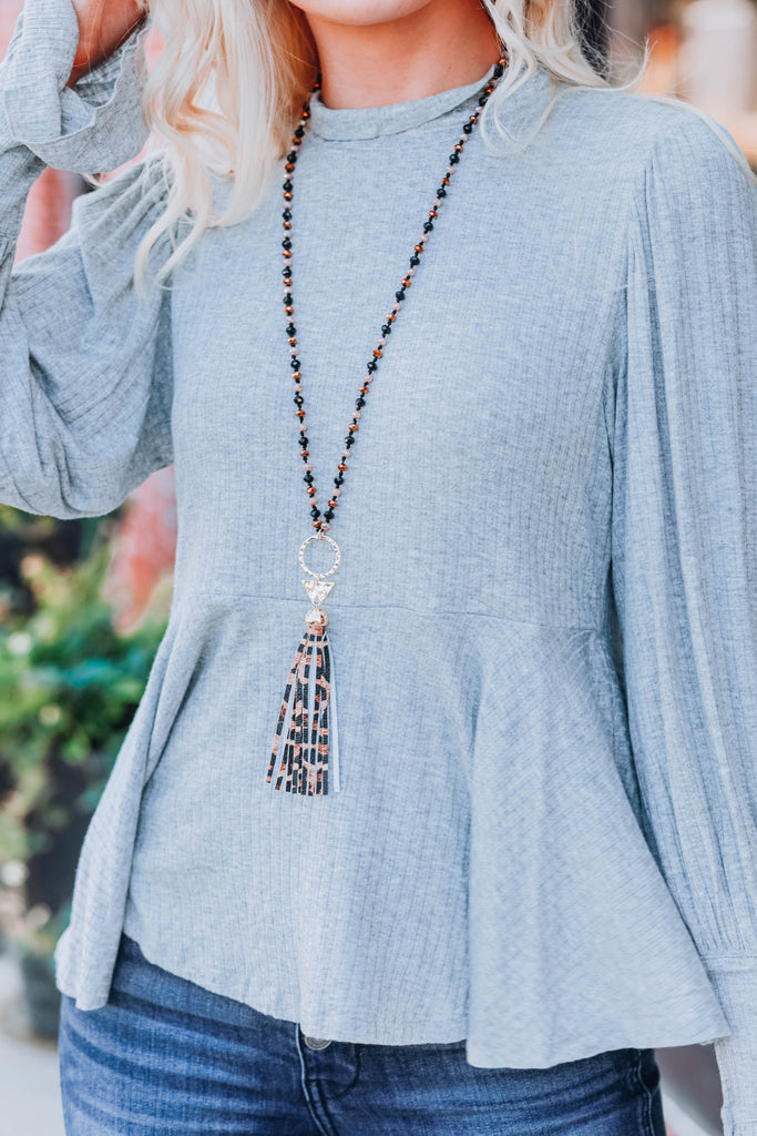 Cut To The Feeling Tassel Necklace - Leopard