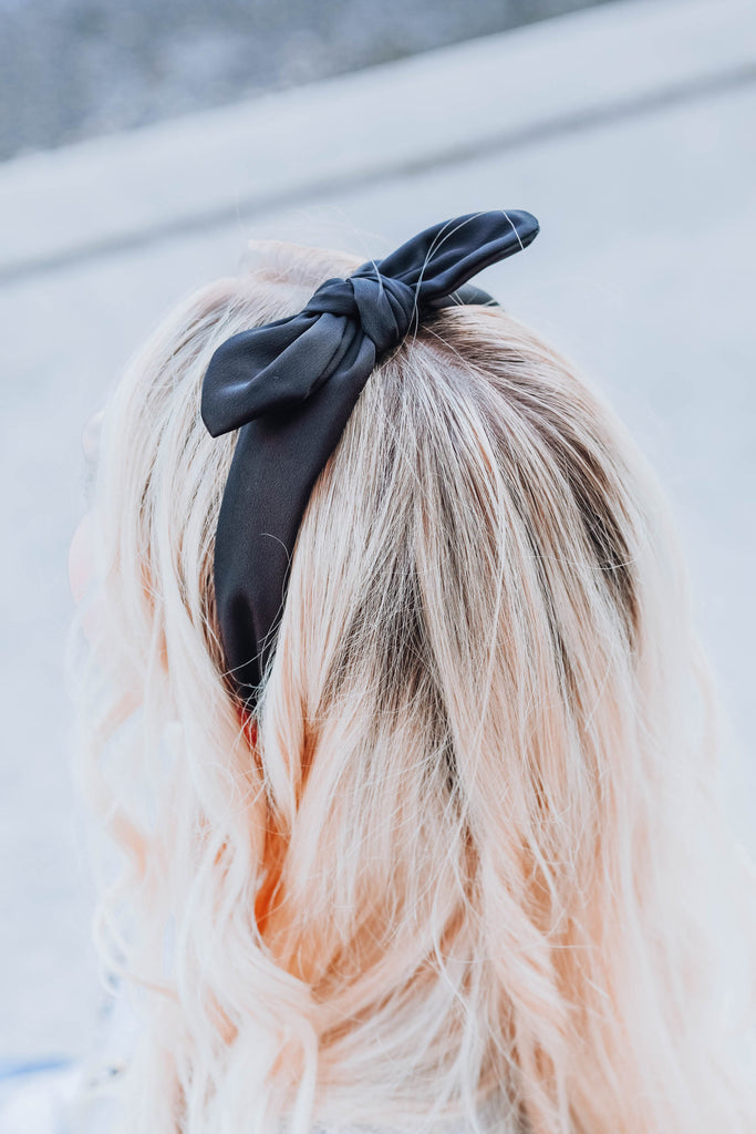 East Sider Knotted Bow Headband - Black