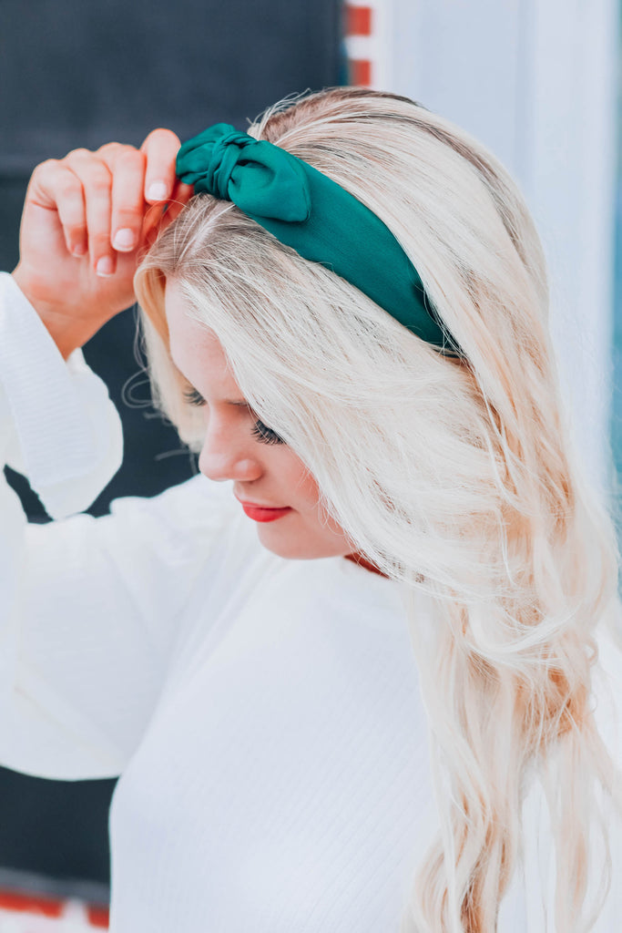 East Sider Knotted Bow Headband - Green