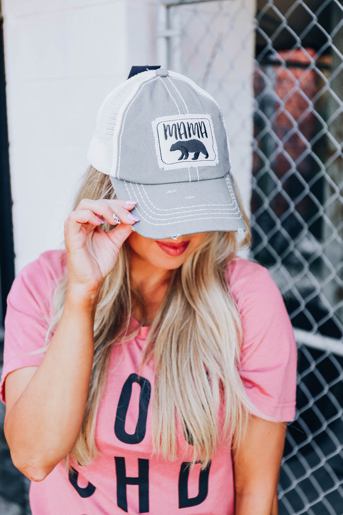 Mama Bear Cap - Grey