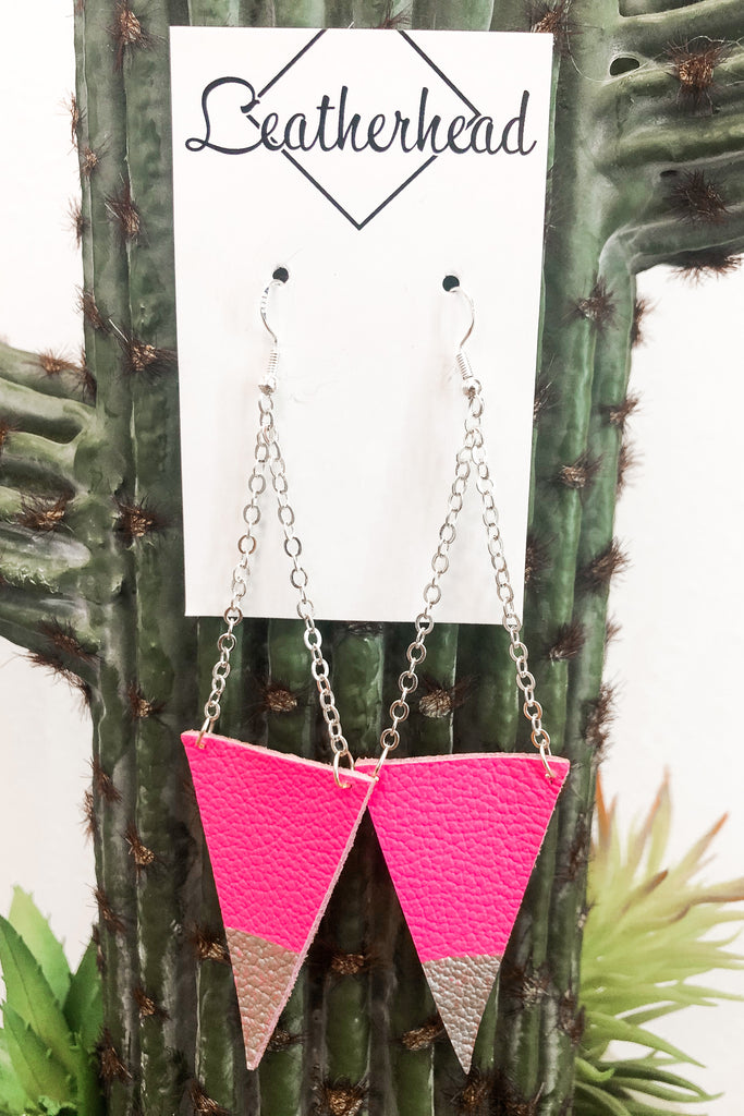 Triangle Dangle Leather Earrings - Hot Pink