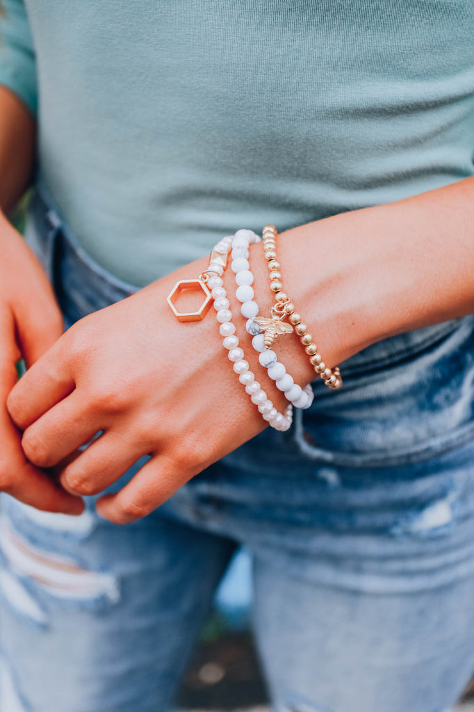 Laters Babe Bracelet Set - White