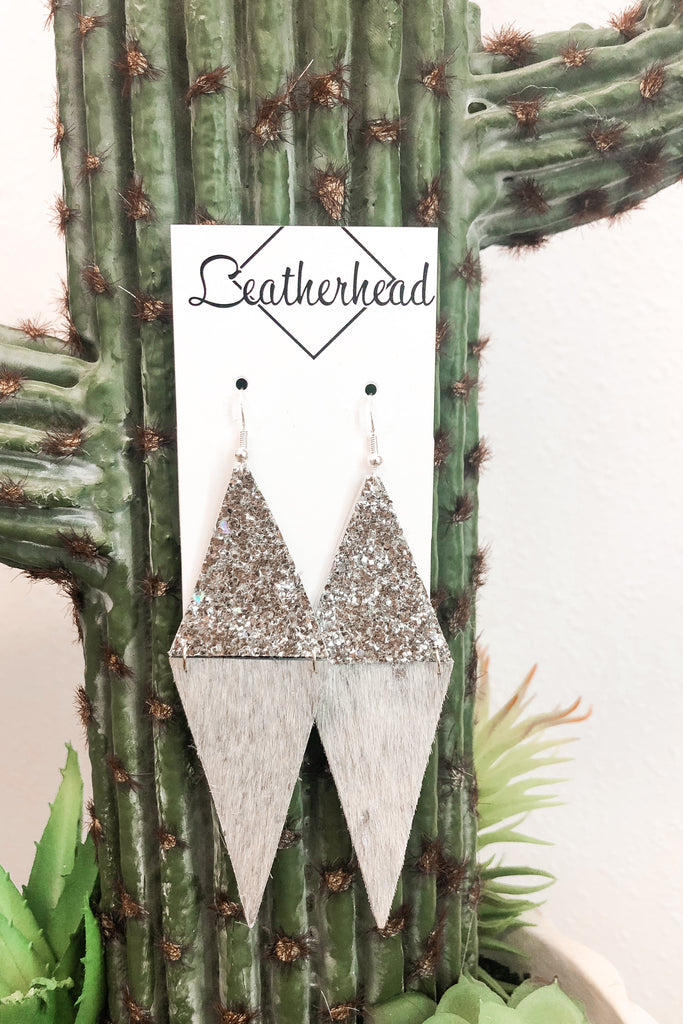 Glitter/Triangle Leather Earrings - Silver/Silver