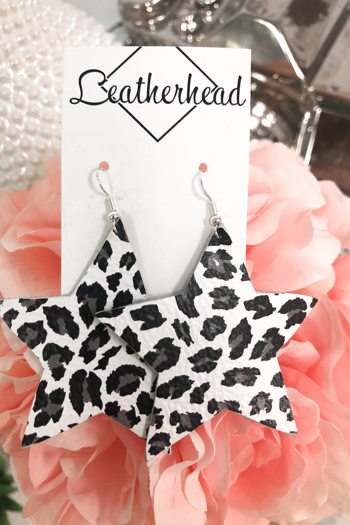 It's Own Light Leather Earrings - Cheetah