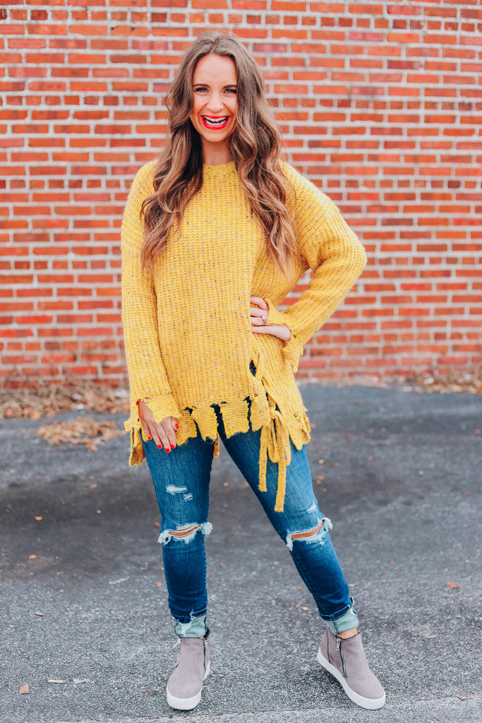 Stella Distressed Sweater - Mustard