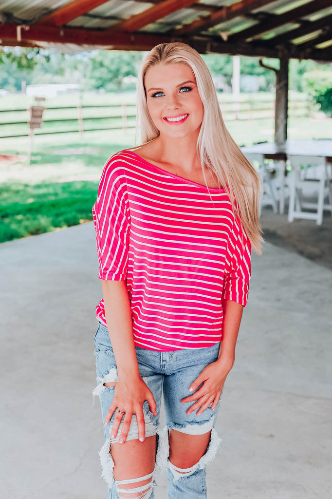Stunning In Stripes Top - Fuchsia