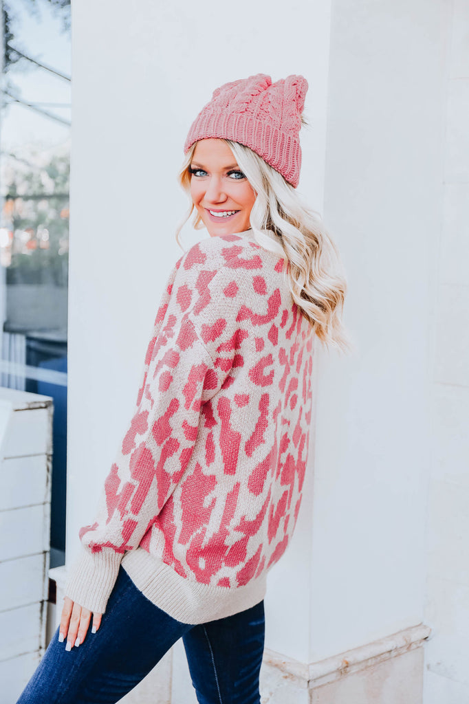 Pink Punch Leopard Sweater S-3X