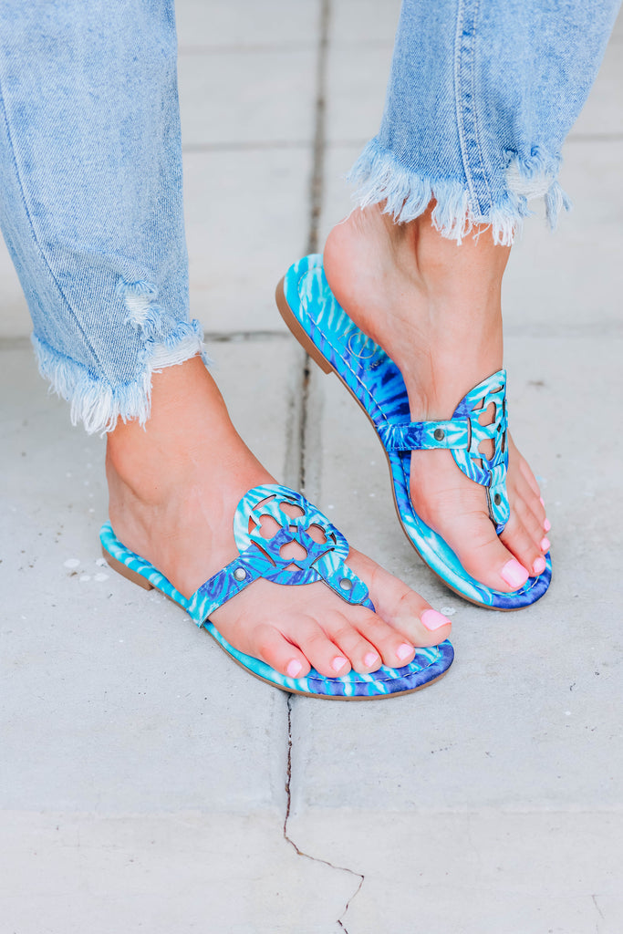 Lilly Tie Dye Sandals  - Blue