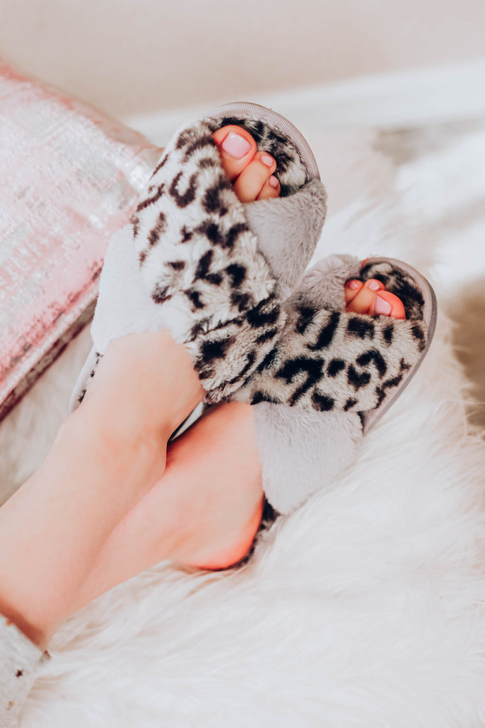 Let's Get Cozy Leopard Slippers - Grey