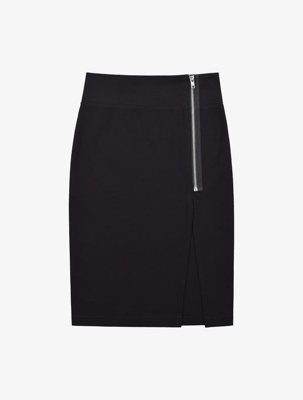 Zipper Slit Pencil Skirt - Black