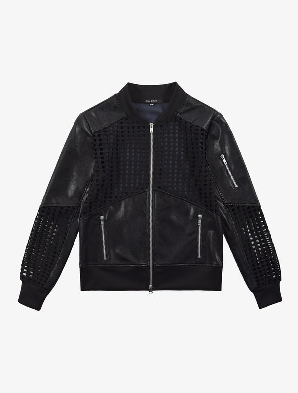 Lattice Leather Bomber