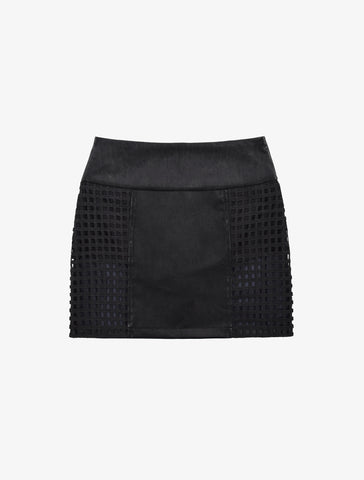 Typo Leather Overlay Skirt - Black