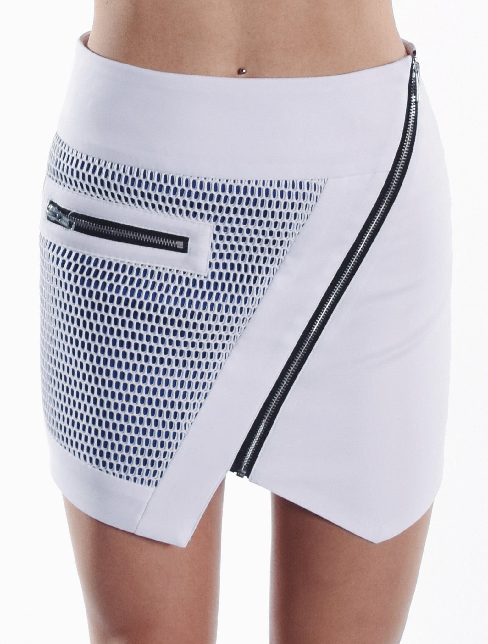 Optic Mesh Moto Skirt - White