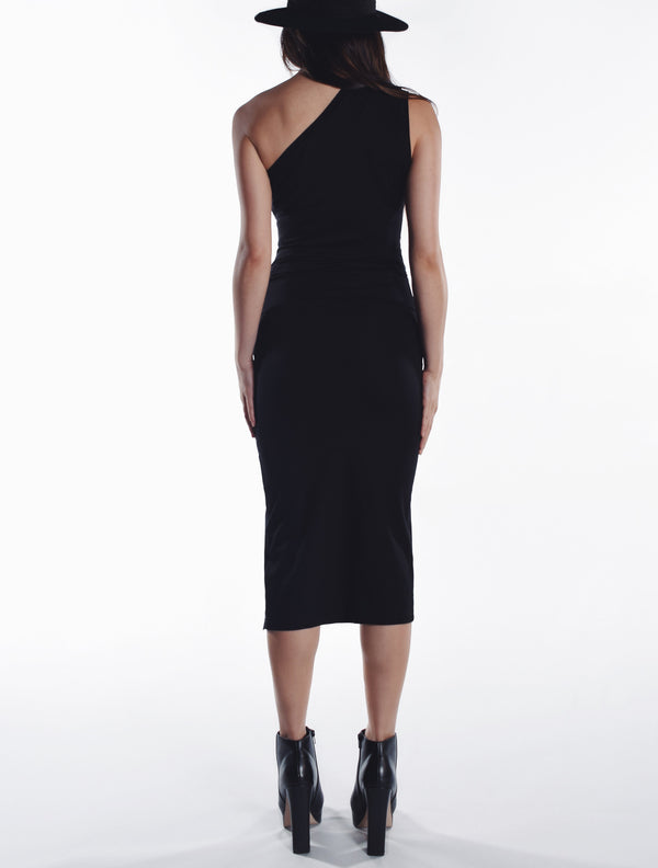 Asymmetric Slit Dress - Black