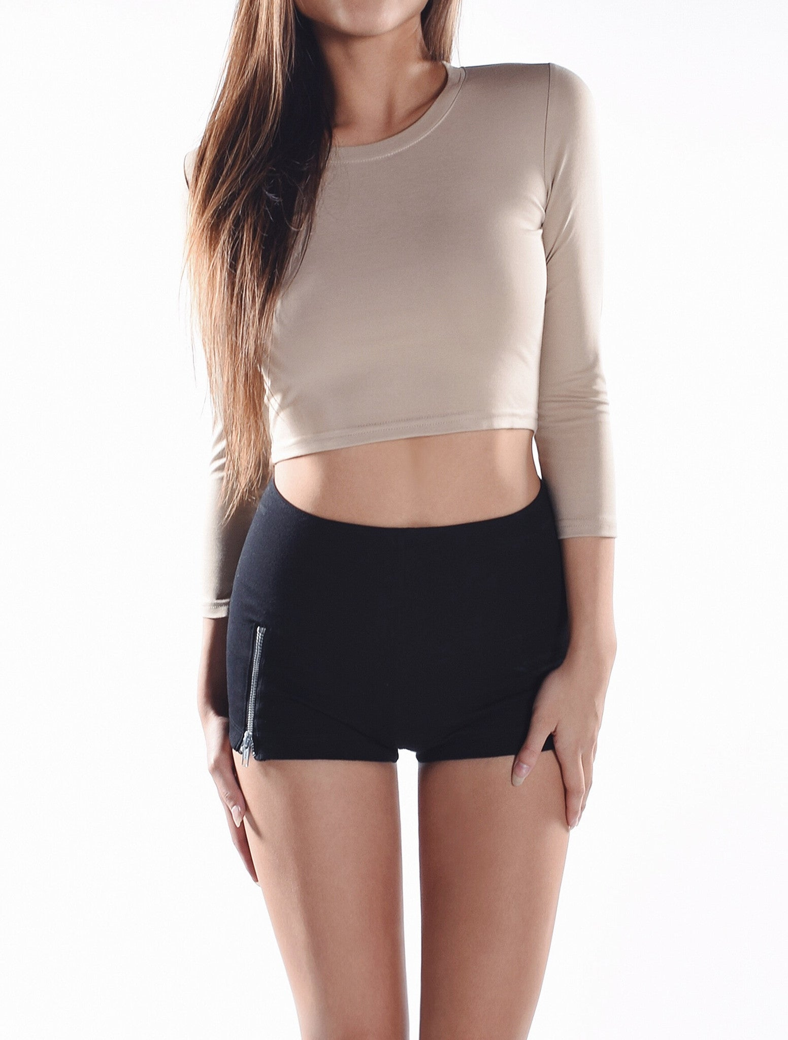 3/4 Sleeve Crop Top - Nude