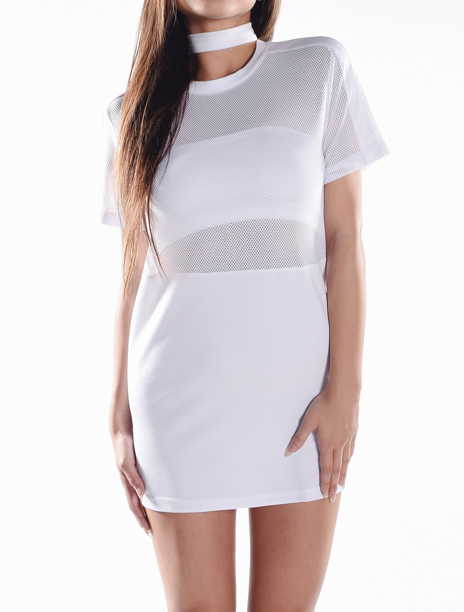 Mesh T-Shirt Dress - White