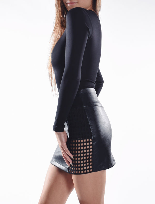 Lattice Leather Skirt