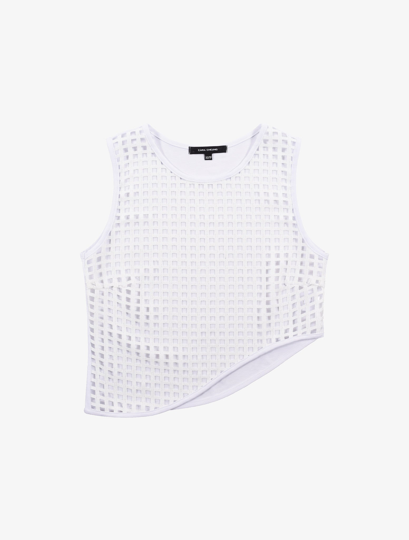 Lattice Curve Hem Top - White
