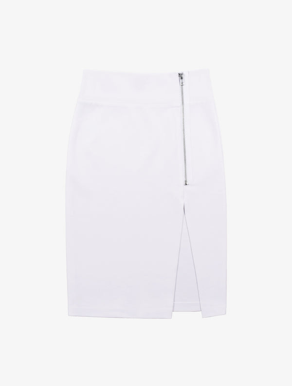 Zipper Slit Pencil Skirt - White