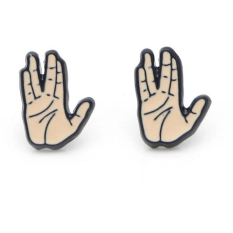 Vulcan Salute Enamel Stud Earrings - Leonard Nimoy's Shop LLAP