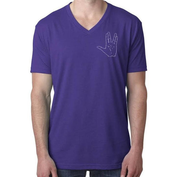 Vulcan Hand Salute Outline V-Neck T-Shirt - Unisex/Mens in Purple - Leonard Nimoy's Shop LLAP