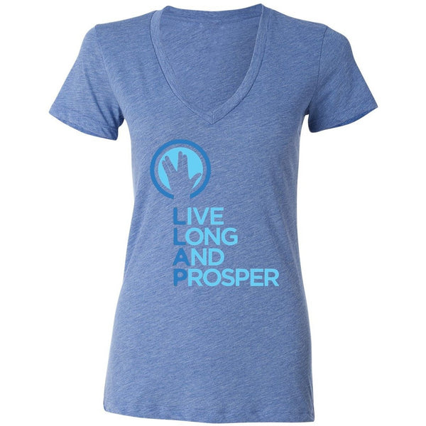 Live Long and Prosper + Hand Salute V Neck Tee - Unisex and Ladies Sizes - Heather Blue - Leonard Nimoy's Shop LLAP