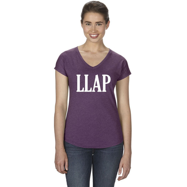 LLAP Ladies V-Neck Tee in Heather Aubergine - Leonard Nimoy's Shop LLAP