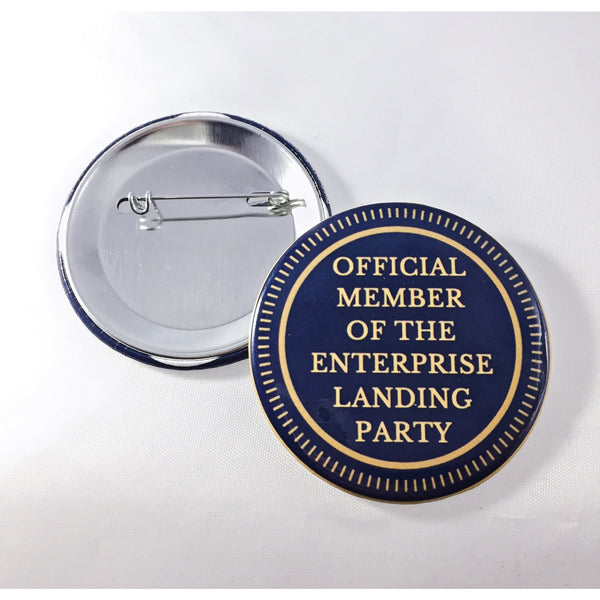 Star Trek Official Member of the Enterprise Landing Party Pin-Back Button - Leonard Nimoy's Shop LLAP