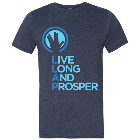 Live Long and Prosper + Hand Salute - Mens Crew Neck Tee in Heather Blue - Leonard Nimoy's Shop LLAP