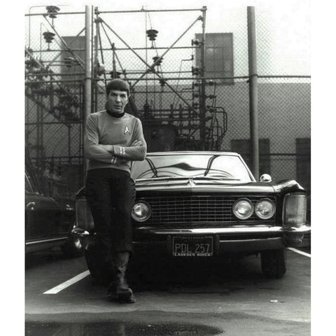 Photo Print of Leonard Nimoy in Costume as Mr. Spock With His Buick Riviera