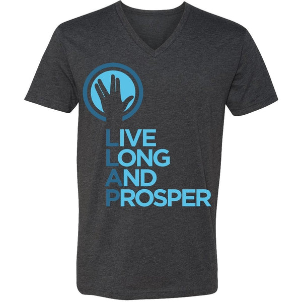 Live Long and Prosper + Hand Salute V-Neck Tee in Charcoal Heather - Unisex and Ladies Sizes - Leonard Nimoy's Shop LLAP