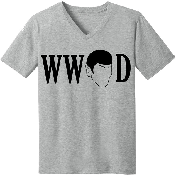 """WHAT WOULD SPOCK DO"" V-Neck Tee in Heather Grey - Unisex and Ladies Sizes - Leonard Nimoy's Shop LLAP"