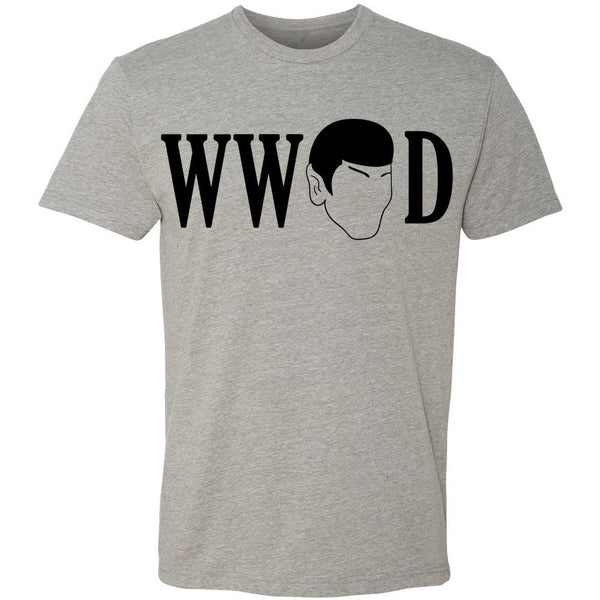 """WHAT WOULD SPOCK DO"" Crew Neck Tee in Heather Grey - Unisex and Ladies Sizes - Leonard Nimoy's Shop LLAP"