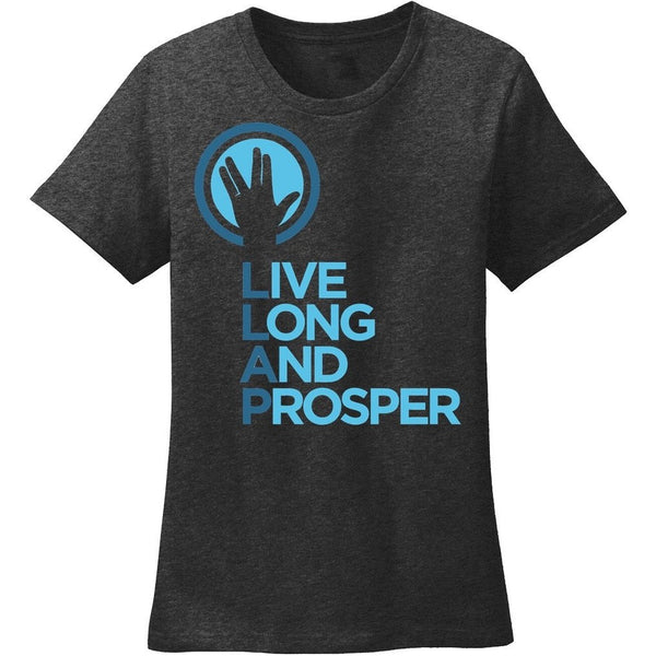 Live Long and Prosper + Hand Salute Crewneck Tee - Mens and Ladies Sizes - Leonard Nimoy's Shop LLAP