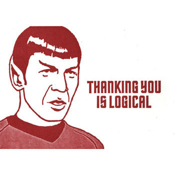 "Mr. Spock ""Thanking You is Logical"" Letterpress Card - Leonard Nimoy's Shop LLAP"