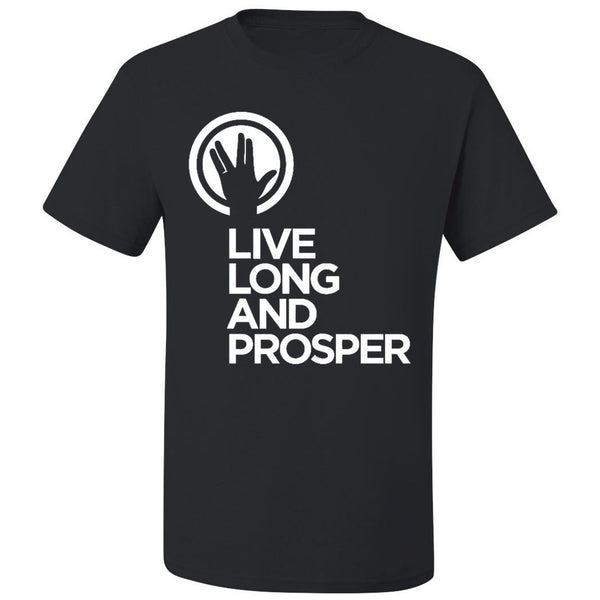 Live Long and Prosper + Hand Salute - Ladies Active Tee in Black - Leonard Nimoy's Shop LLAP