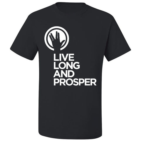 Live Long and Prosper + Hand Salute - Unisex Active Tee in Black - Leonard Nimoy's Shop LLAP