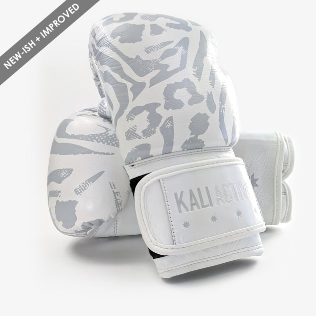 Animal White Leather Boxing Gloves