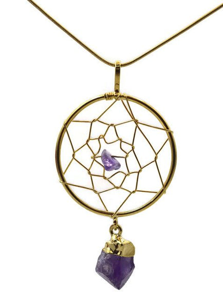 Amethyst Point Dreamcatcher Necklace