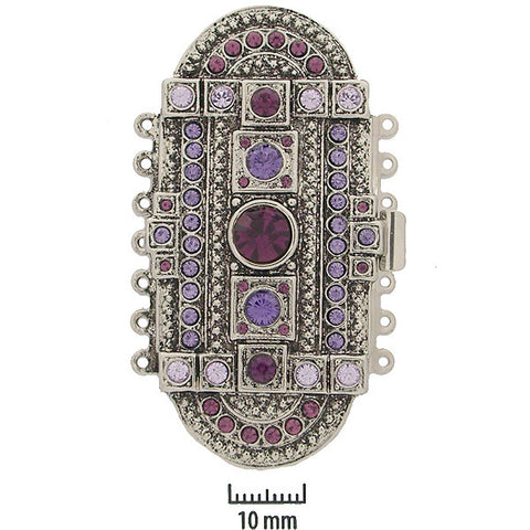 Rhodium Plated 7 Strand Cathedral-Purples (Made in Germany) - Beads Gone Wild