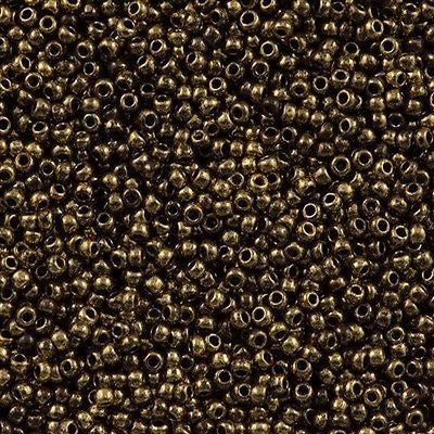 11/o Japanese Seed Bead 1705 npf Gold Marbled - Beads Gone Wild